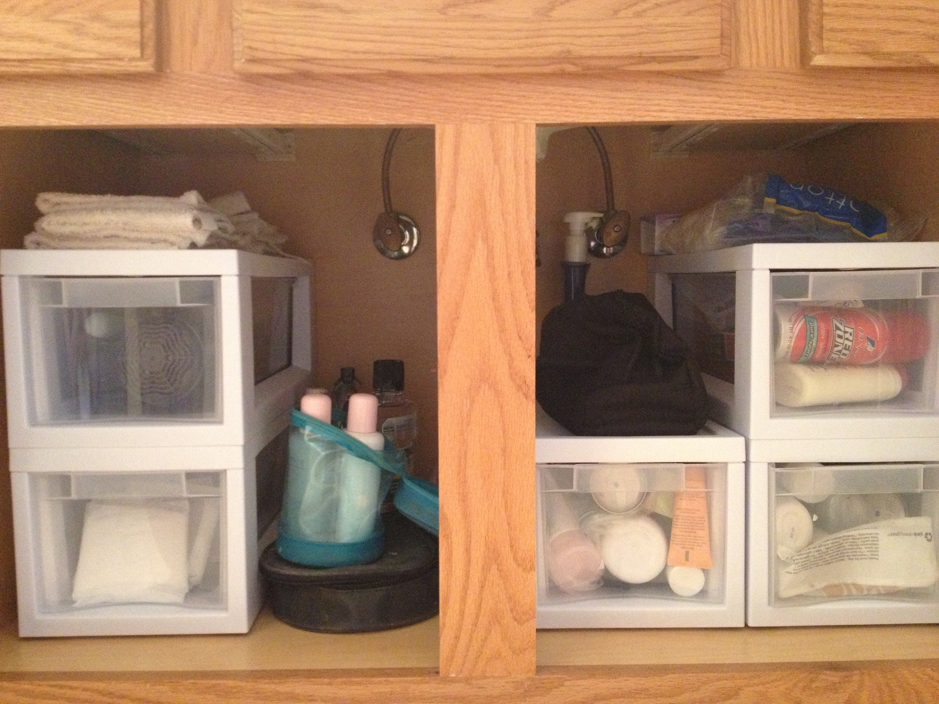 bathroom cabinet organization