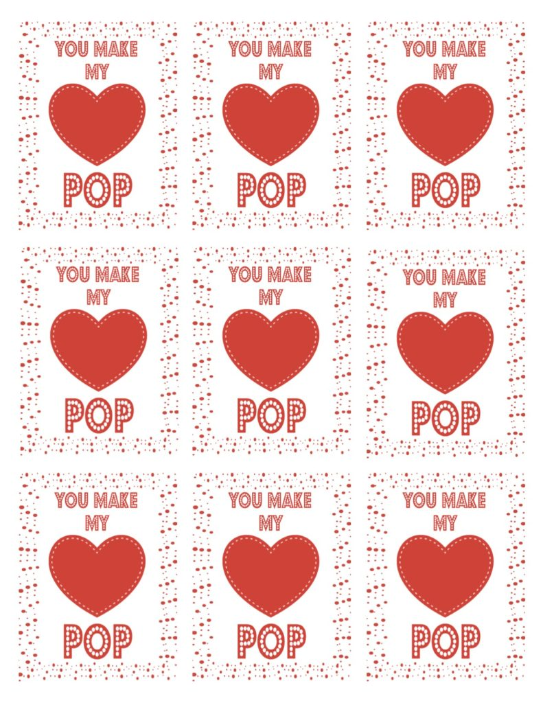 image about Popcorn Valentine Printable titled Your self Produce My Middle Pop Cost-free Valentine Printable Recipe